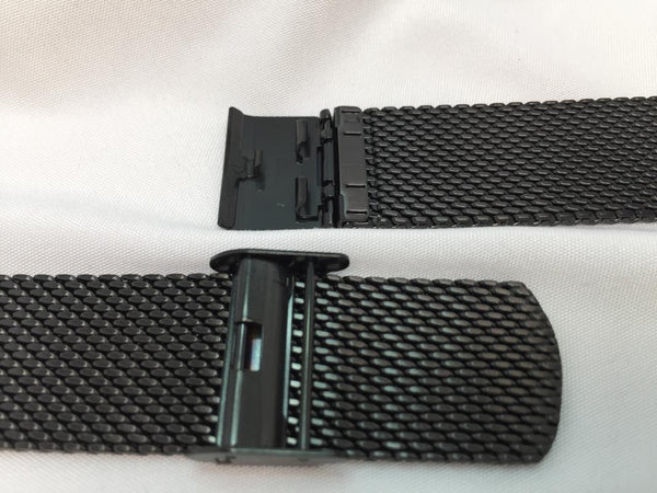 Wenger watchband 07.1322.002. 22mm Black steel Mesh Bracelet for Urban Classic
