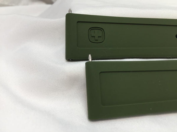 Wenger watchband 22mm Olive Silicone . Military Style Back Plate # 1341-10