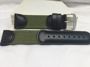 Wenger watchband 21mm Black/Green Fabric/Leather.Military Style Mod 01.1141.113