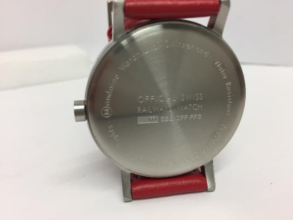 Mondaine Swiss Railways Watch.Perforated Red Leather  Mens A660.30360.16SBC