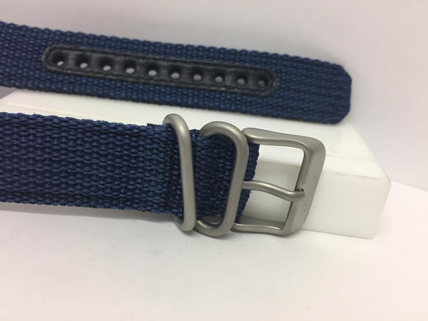 Seiko Watchband SNK807 18mm Blue Fabric .Washable W/Pins Steel Bkle/Keepers