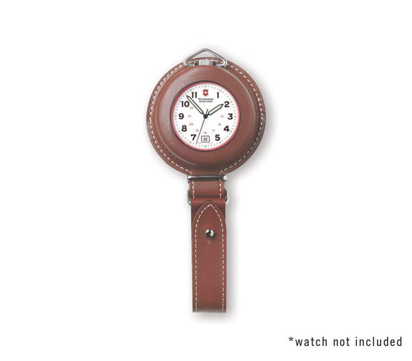 Swiss Army Pocket Watch FOB. Belt Attaching All Leather Pocket Watch Case w/Logo