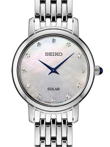 Seiko Solar Ladies Watch SUP397.Lite Pink Mother of Pearl/Diamond Dial.All Steel