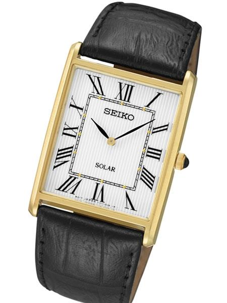 Seiko Solar Watch Mens SUP880. 6.5mm Thin Tank Style.22mm .28mm Case Length
