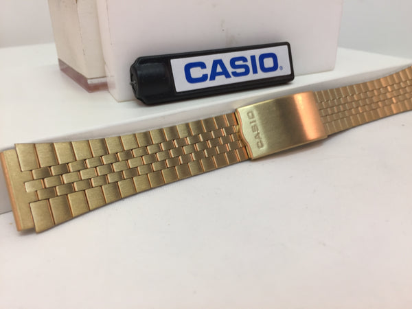 Casio Original WatchBand/Bracelet Number B-738N. Unknown Model 19mm Gold Tone
