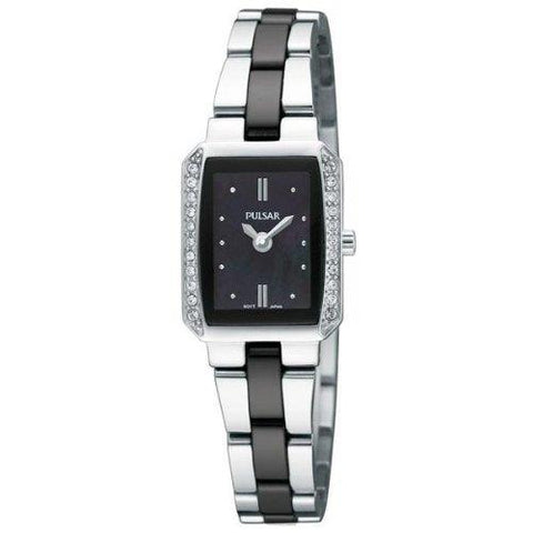 Pulsar Watch PEGG09 Ladies Black/Silver Bracelet.Swarovski Crystals.50% Off MSRP