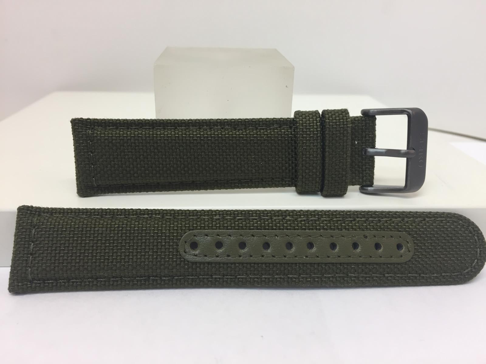 Seiko Watchband 21mm Military Green Fabric/Leather w/Black Steel Buckle. LODGH21