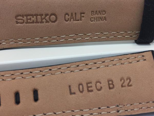 Seiko Watchband 22mm Black Waterproof Fabric Cap. Leather Underside. LOEC B 22