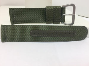 Seiko Watchband SNAD27 22mm Military Green Waterproof Fabric w/Leather Eyelets.