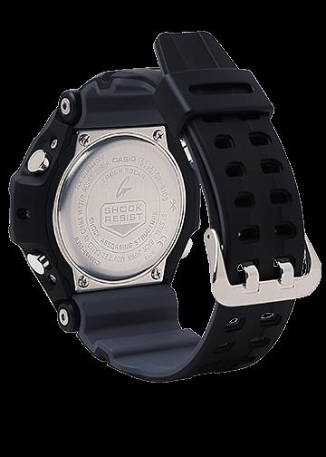 Casio Watchband GRB-100 1A3. Gravity Master Black Resin . Gray Backside