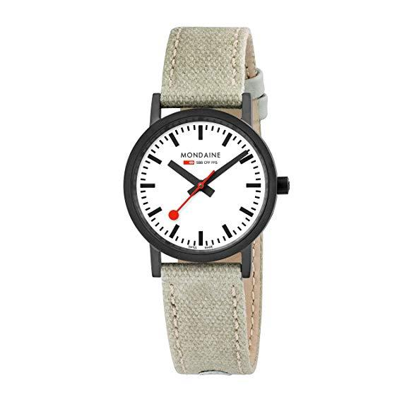Mondaine Watch A660.30323.61SBG Ladies Classic Black.Swiss,Canvas Leather