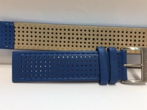 Mondaine Swiss Railways Watchband 20mm Blue Perforated Leather #FE3120.40Q1