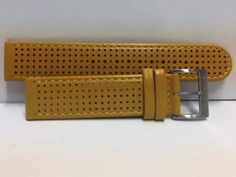 Mondaine Swiss Railways Watchband 20mm Yellow Perforated Leather #FE3120.50Q.1