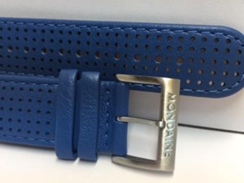 Mondaine Swiss Railways Watchband 16mm Blue Perforated Leather #FE3116.40Q.2