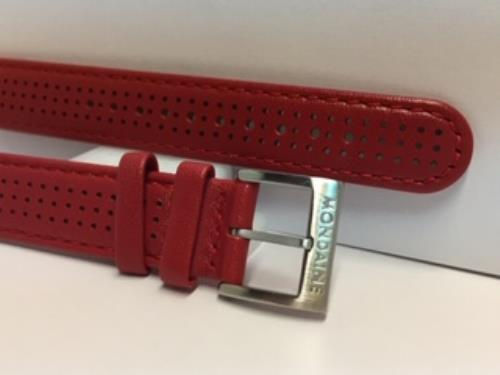 Mondaine Swiss Railways Watchband 16mm Red Perforated Leather #FE3116.30Q.2