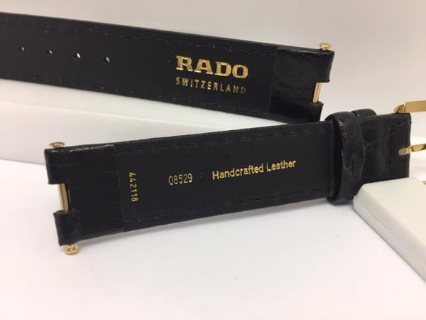 Rado Watchband 08529. 16mm Wide.5mm Notch. Blk Lthr. Original Attaching Hardware
