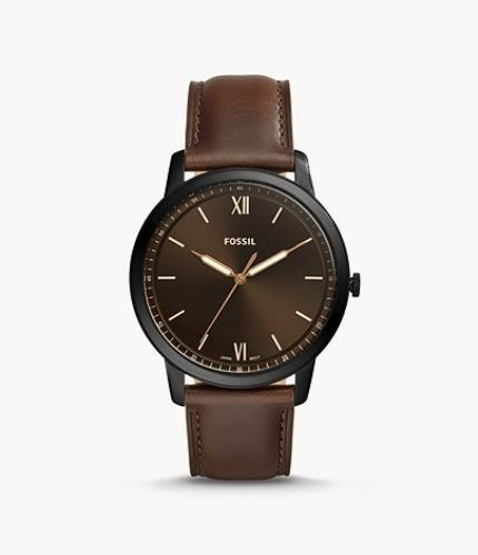 Fossil Mans Minimalist Dress Watch 44mm Case. Brown Band Black Dial. Gold Tone