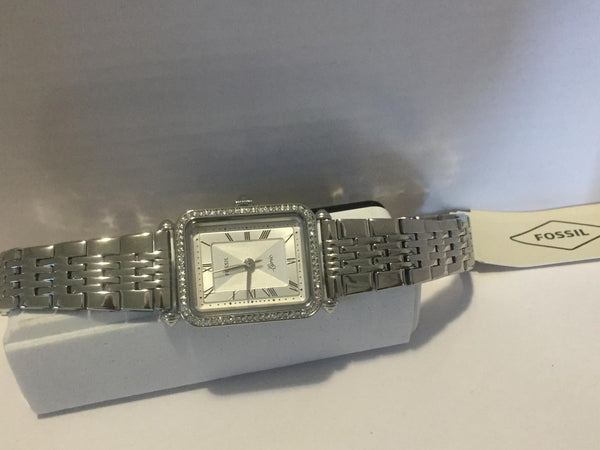 Fossil Womens Classic All Steel Dress Watch.Crystal Stone Bezel. Model ES4721