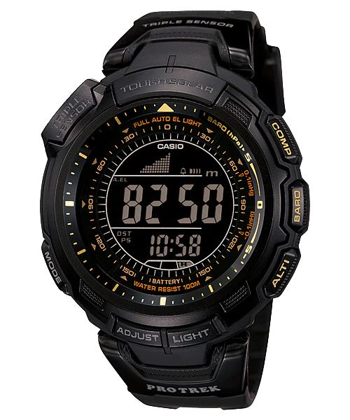 Casio Watchband PRG-110 Y,PRW-1300Y Original ProTrek Tough Solar Black Strap
