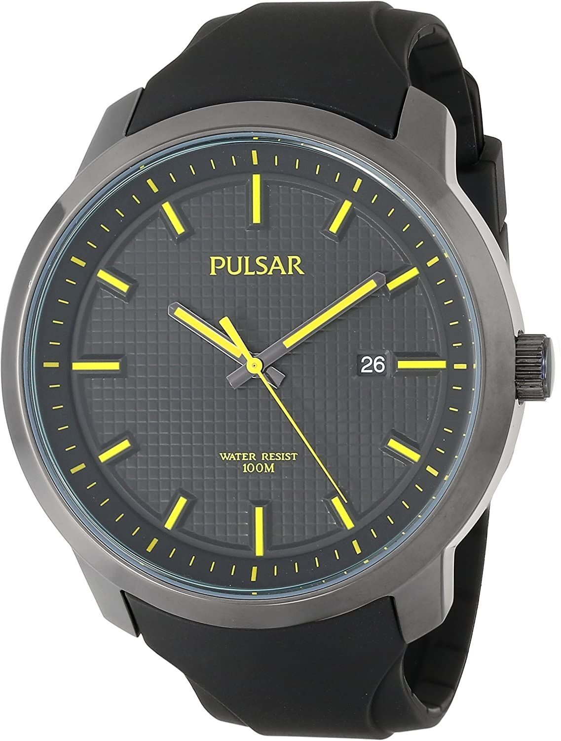 Pulsar Watch PS9101 Mans Black w/Yellow Luminous Hands, Rubber Strap.Retail $135