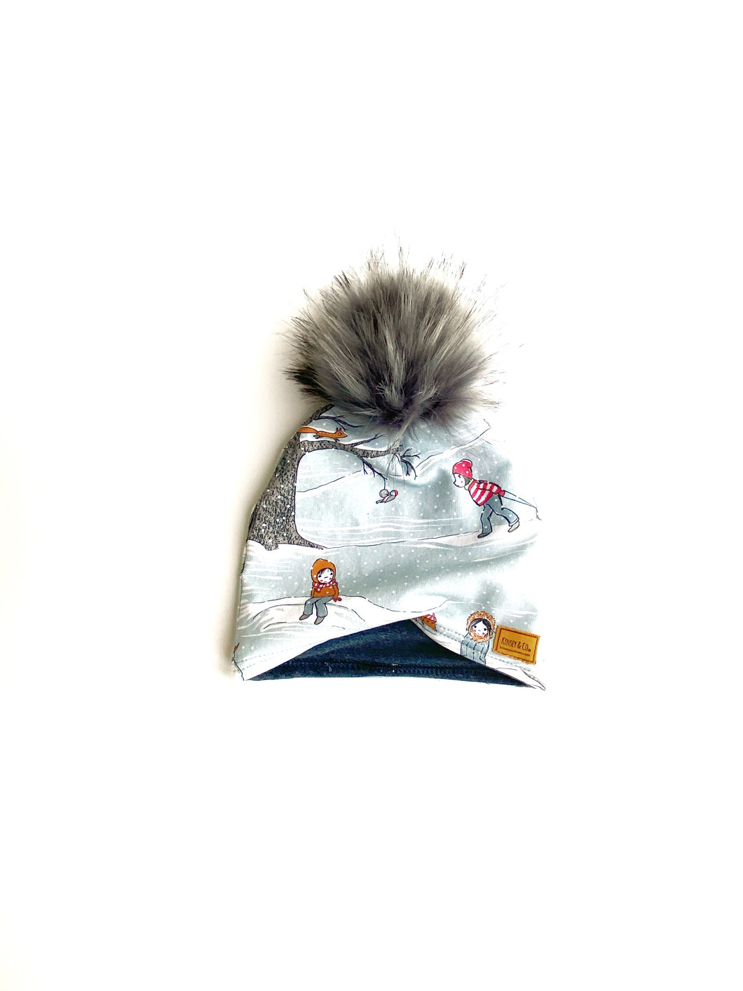 Child Winter Scene Winter Hat Beanie with Snap Pom.