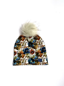Adult Winter Hat with Snap on PomPom in Navy Winter Floral, Winter Beanie, Made in Vermont, Organic Hat
