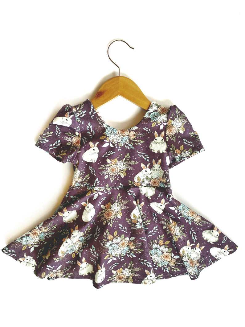 Easter Dress Peplum Top 2T Bunnies Girls Outfit Dress Flowers Bouquet Rabbits Toddler