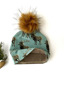 Deer Winter Hat Beanie Baby, Toddler, Child, Adult Medium, Adult Large