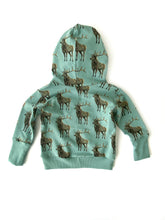 Load image into Gallery viewer, Vermont Kids Hoodie, Elk Hooded Grow with Me Sweatshirt Sizes 3-12M, French Terry Baby Sweatshirt