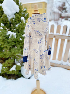 Toddler Winter Dress Sizes 2T, 3T, 4T Oatmeal, Cream Navy Hoodie Dress Vermont Snow Girls