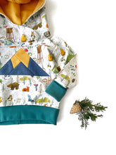 Load image into Gallery viewer, Kids Hoodie sizes 3m-9Y, Camping Sweatshirt, Mountain Sweatshirt, Vermont Kids Hooded Shirt, Woodland Animal Sweatshirt
