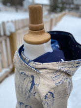 Load image into Gallery viewer, Toddler Winter Dress Sizes 2T, 3T, 4T Oatmeal, Cream Navy Hoodie Dress Vermont Snow Girls