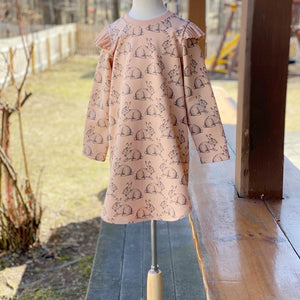 Pink Flutter Sweatshirt Bunny Dress, Easter Dress, Infant, Toddler, Child Sizes 0-3mo to 6T