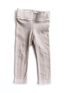 Wide Band Leggings Dusty Rose and White Stripe