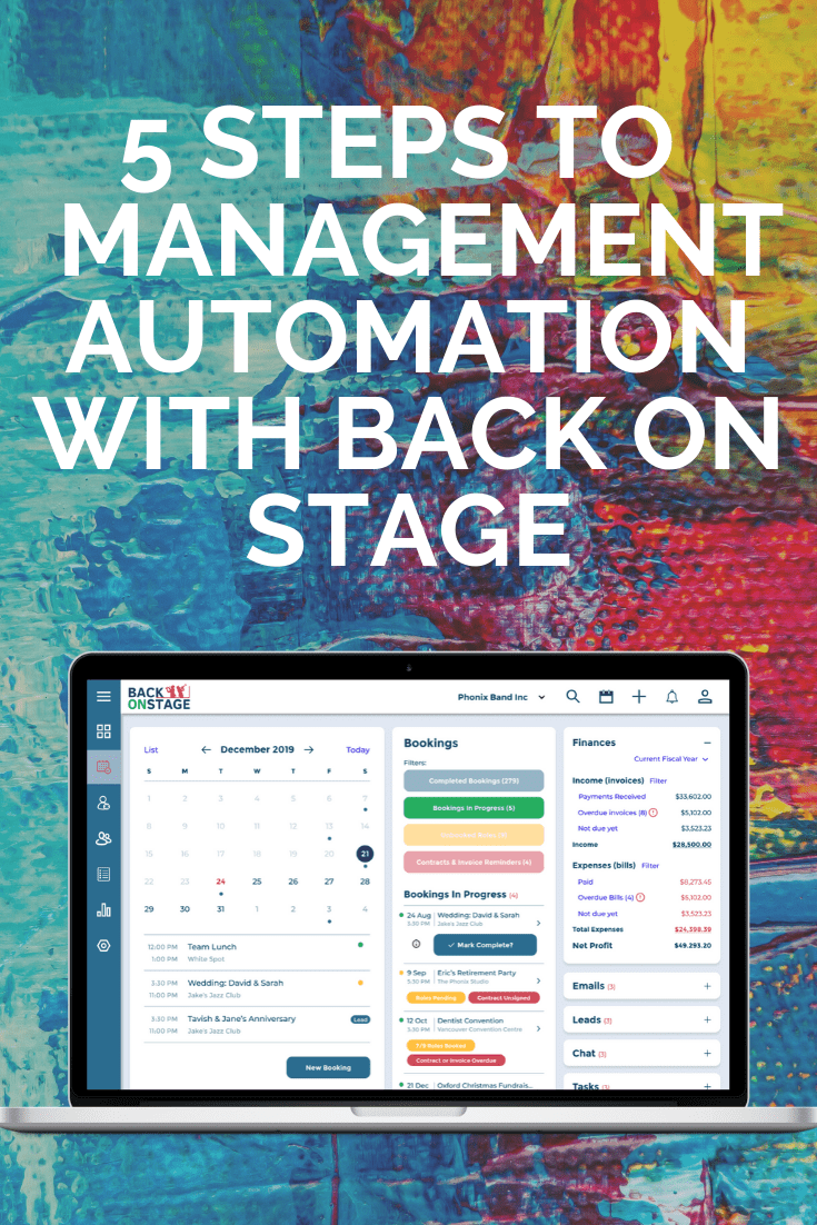 Music artist management automation with back on stage