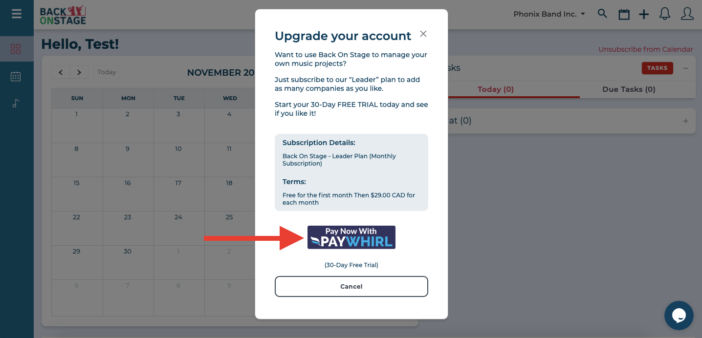 upgrade to bandleader account pay button