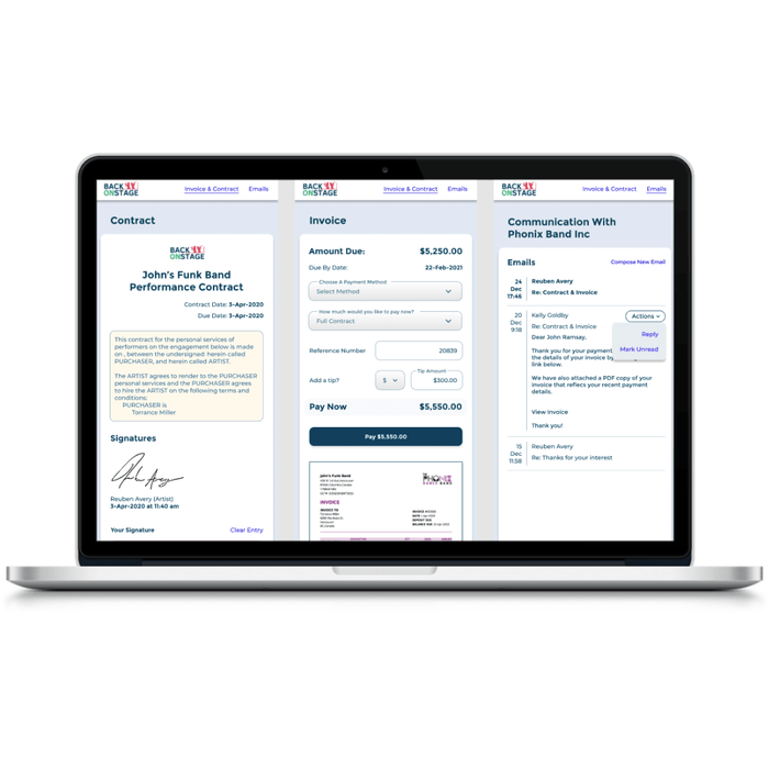 BOS client portal contract and invoice