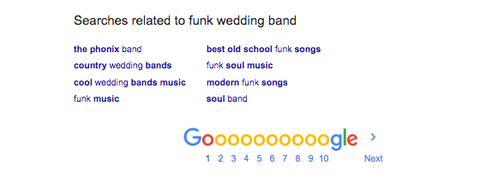 SEO for musicians and bands google search example