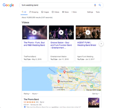 SEO for musicians google search example