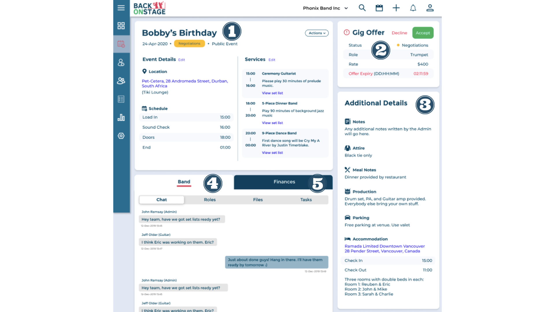 Individual booking view musician