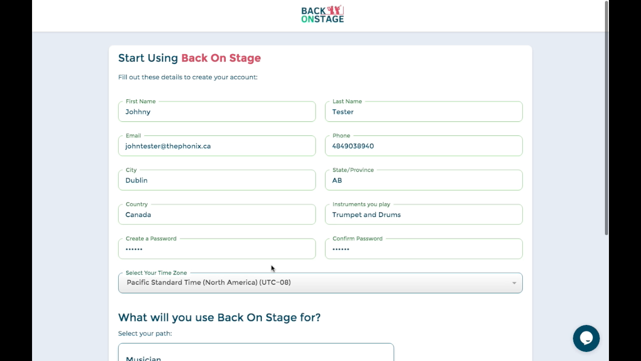 Create your profile in Back On Stage