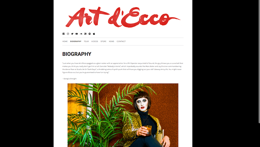 Short artist bio example  – Art d'Ecco