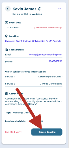 click here to create booking