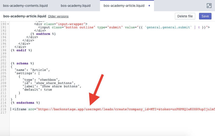 embed form code