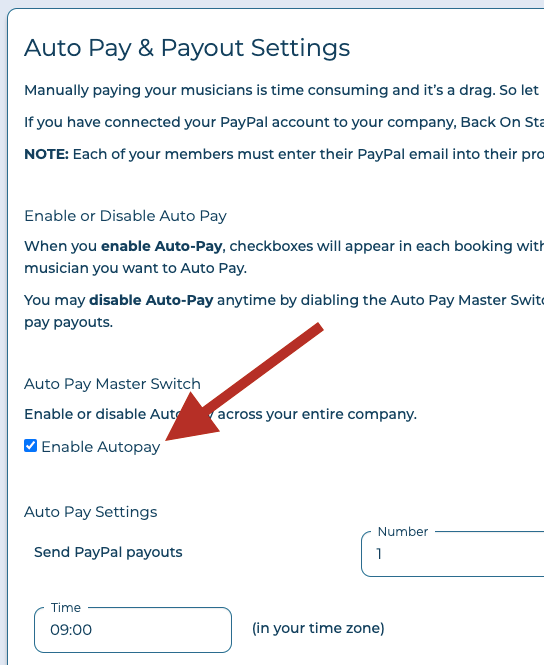 enable autopay
