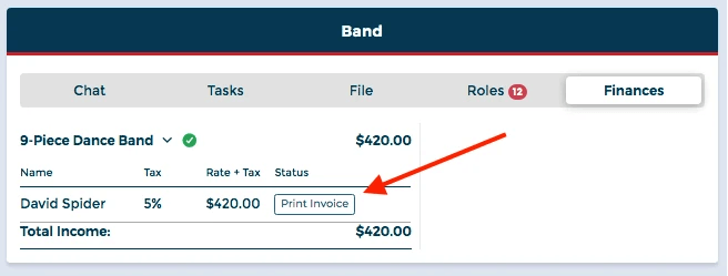 BOS makes an invoice for musicians