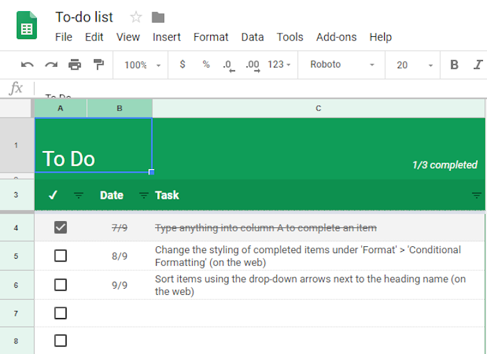 Use google sheets to manage tasks for your band