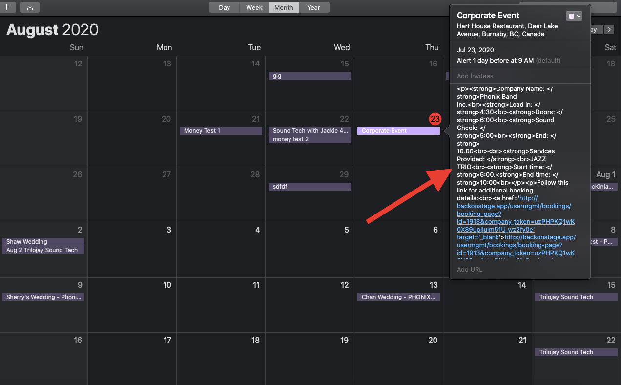 ical detail view