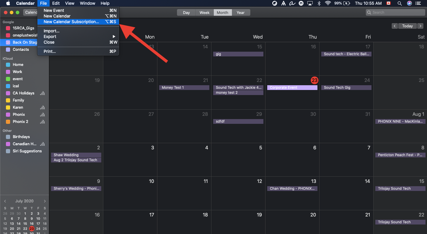 ical new cal subscription