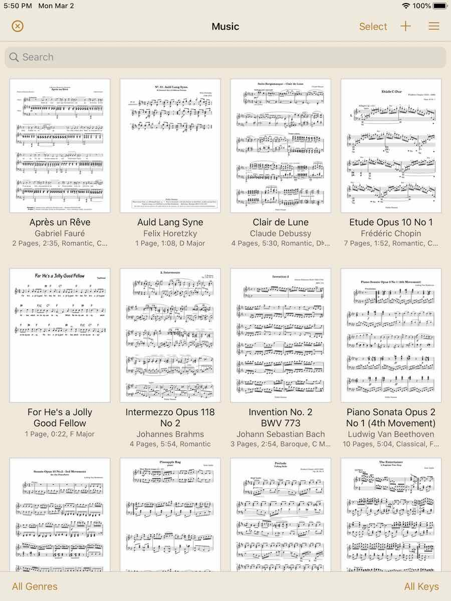 paperless music app for sheet music on ipad